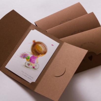 Авторская рисованная открытка веночек
