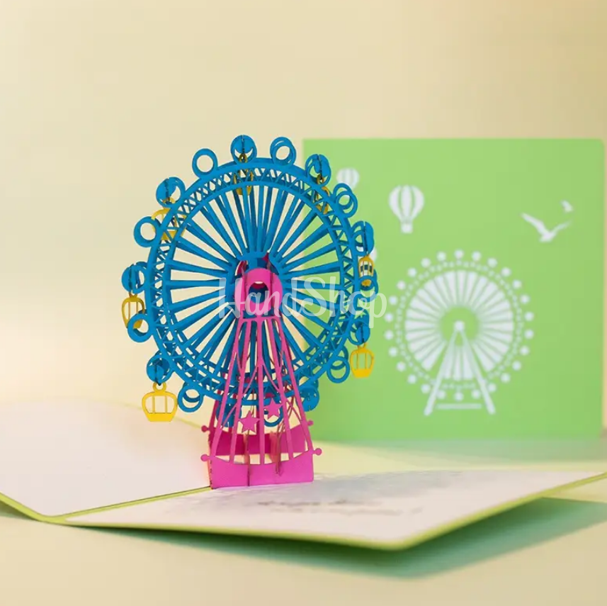 Авторская 3d открытка карусель