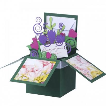 Женская открытка коробочка цветы тюльпаны
