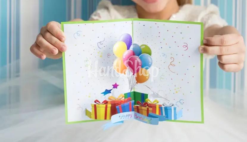 Детская 3d открытка из шариков happy birthday