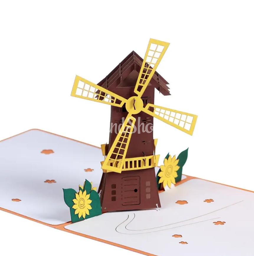 Авторская 3D открытка мельница