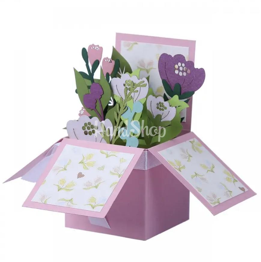 Открытка объемная коробочка с цветами