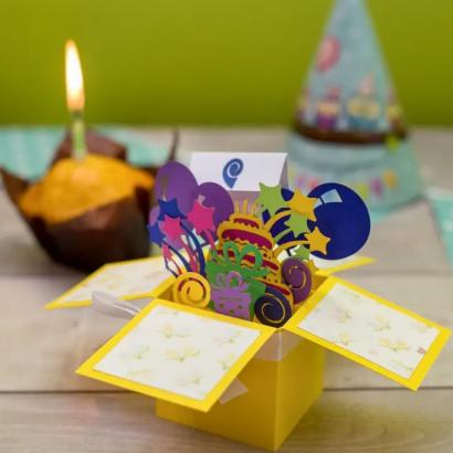 Объёмная открытка/коробочка на день рождения