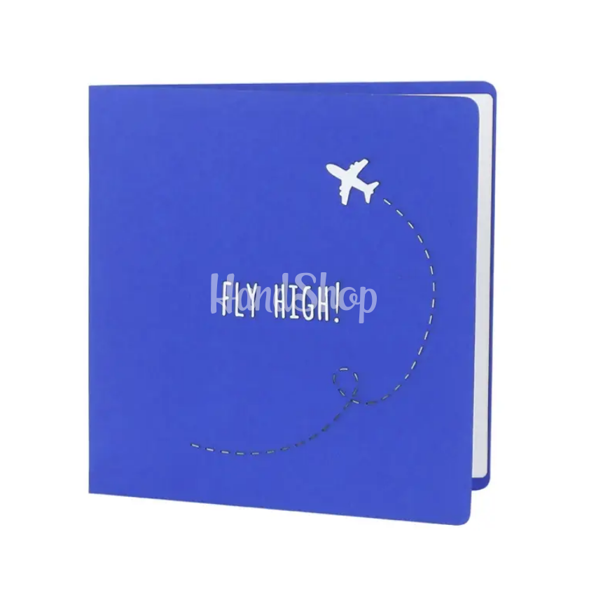 Авторская 3d открытка самолет в небе