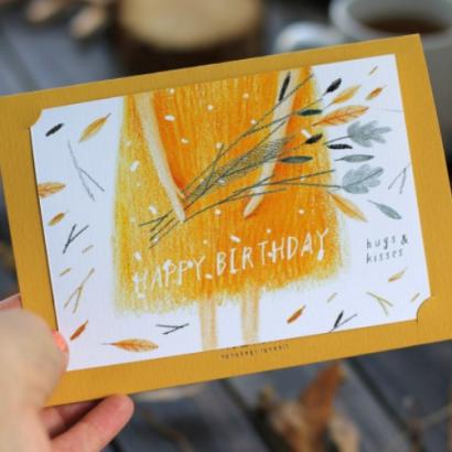 Открытка с цветами авторская Happy Birthday