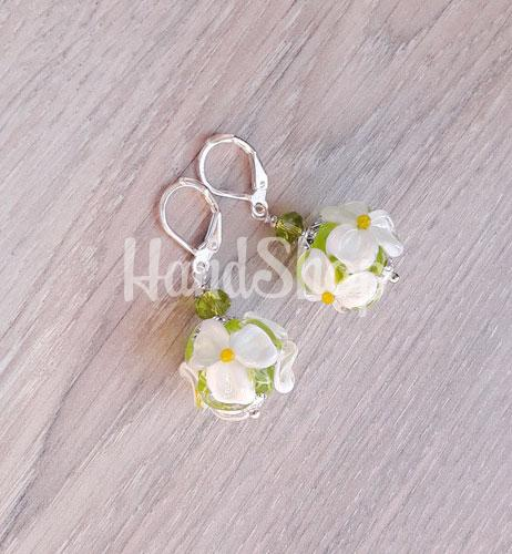 Украшения лэмпворк серьги цветы Ромашки