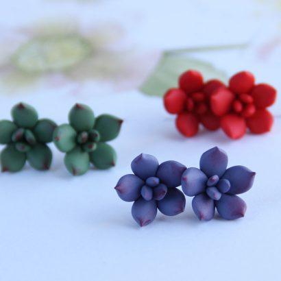 Серьги гвоздики суккуленты цветы
