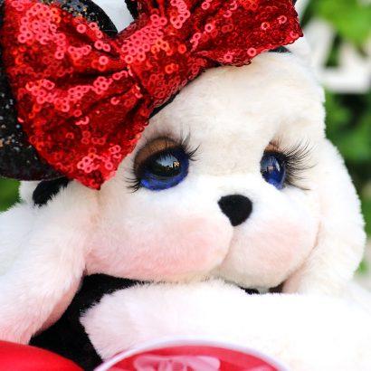 Мягкая игрушка зайка белая с меха кролика