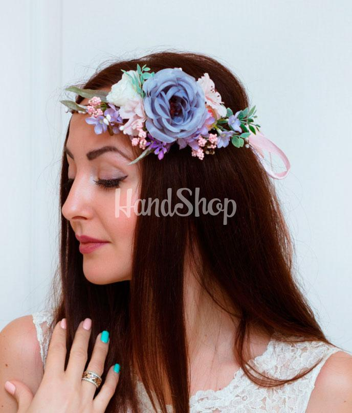 Венок для волос цветы тканевые