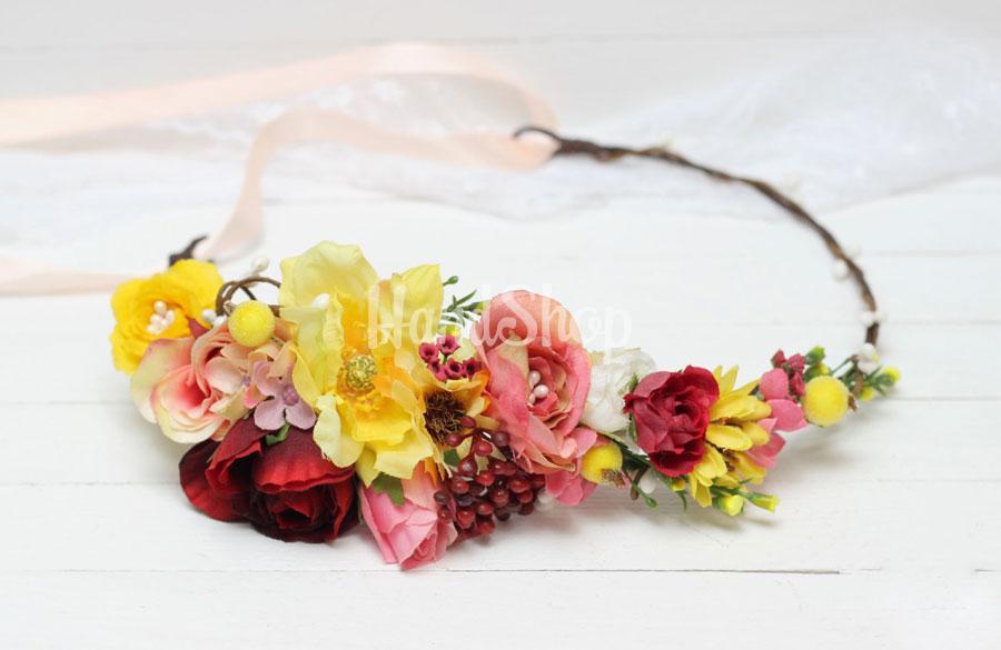 Женский венок для волос из декоративными цветами