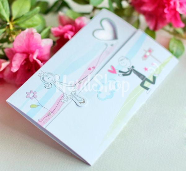 Оригинальная свадебная открытка конверт молодожёны