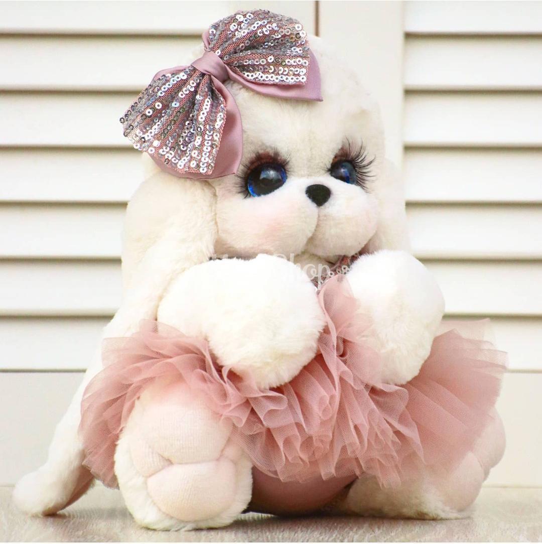 Зайка из меха кролика в пышном платье