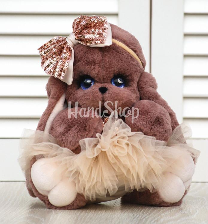 Мягкая игрушка зайка коричневого цвета