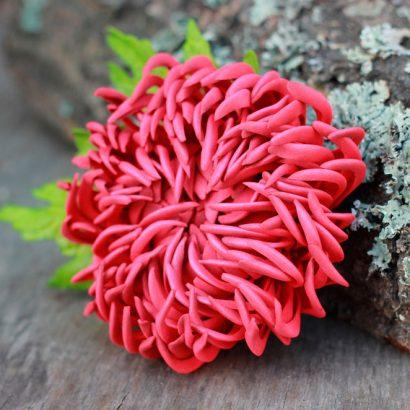 Зажим брошь цветок хризантема